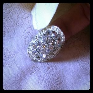 Vintage Clear Crystal Cluster Oval Statement Ring